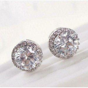 Round Cut CZ White Silver Stud Earrings